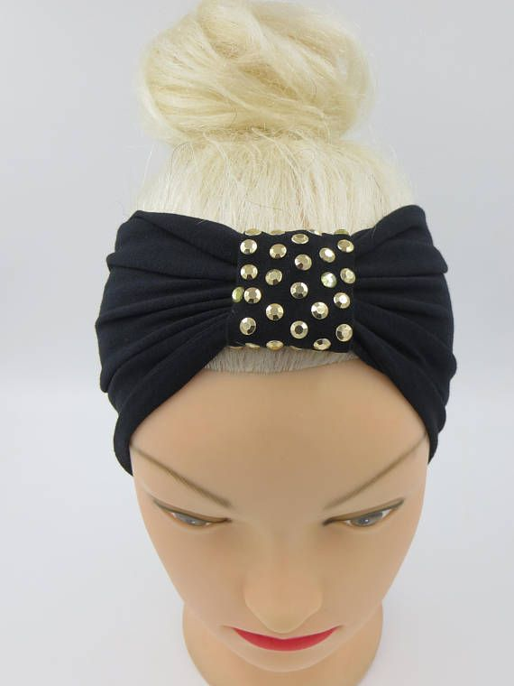 Turban Headband Black Headband Gold Metal Studded beaded Black
