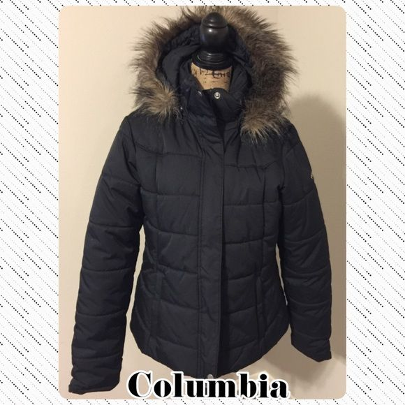 Columbia coat Black puffer with faux fur lined detachable hood. In excellent condition! Columbia Jackets & Coats Puffers
