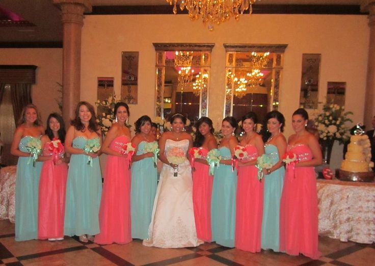 Mint and coral bridesmaids dresses