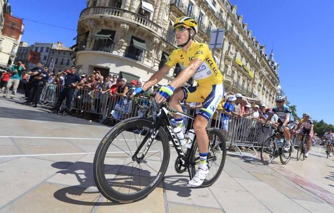 Daryl Impey (Orica-GreenEdge) enjoys his first day in yellow. Stage 7