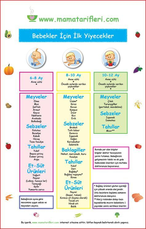 Bebeğimin ilk yılında hangi yiyecekleri, ne zaman vereceğim?   Mama Tarifler…