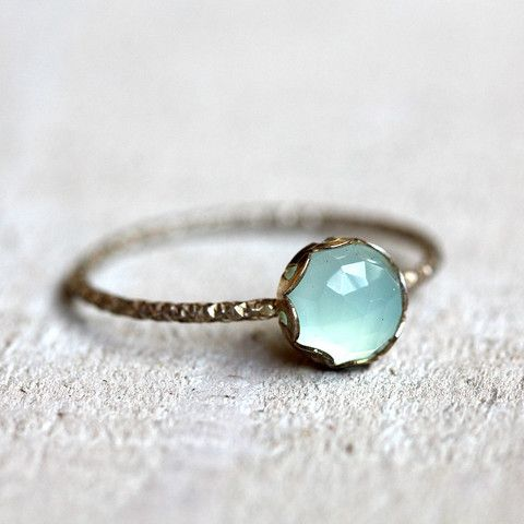 Gemstone ring - blue chalcedony ring. Beautiful and simple