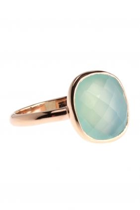 Ring Sterling Silber rosé vergoldet Chalzedon blau grün mintgrün