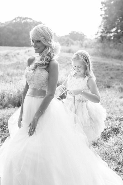 Emily Maynard's daughter Ricki helps her get ready for the big day: http://www.stylemepretty.com/2014/09/22/emily-maynards-surprise-wedding-to-tyler-johnson/ | Photography: Corbin Gurkin - http://corbingurkin.com/