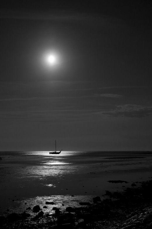 de schoonheid van het Wad bij nacht - volle maan
