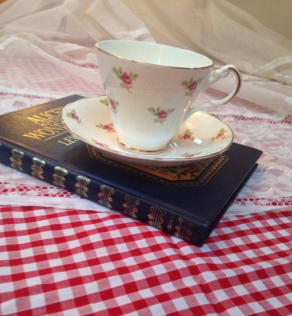 Vintage Argyle Rose bud Tea cup and saucer on Etsy, £9.99 Tea party shabby chic gift