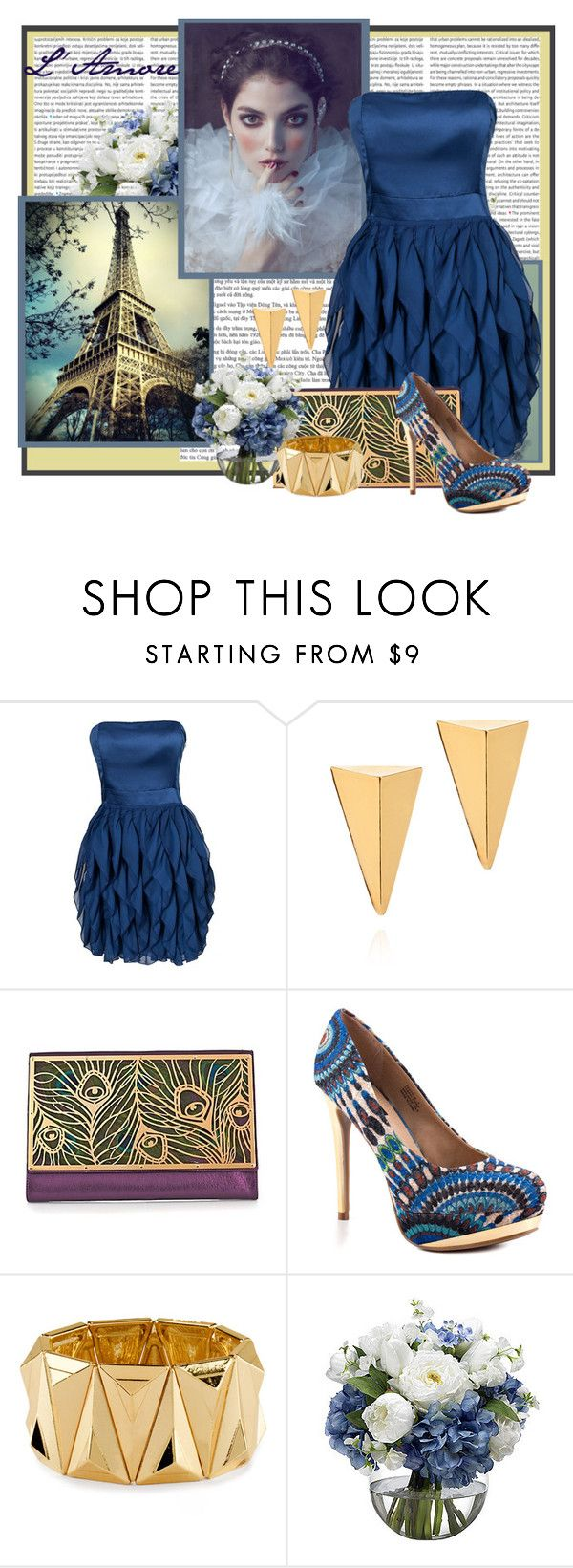 """Peacocks and Gold"" by mz-happy ❤ liked on Polyvore featuring B.Young, John & Pearl, Raven Kauffman, ZIGIgirl, H&M, Diane James and Arco"