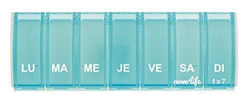 novolife nl de 21033Semaine Doseur: Pilulier hebdomadaire à 1 case par jour. Couvercle individuel par jour.