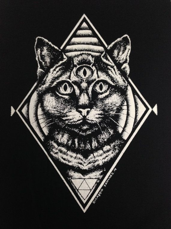 Third Eye Cat Patch PunkPatch Horror schwarz von oneHandPrinting