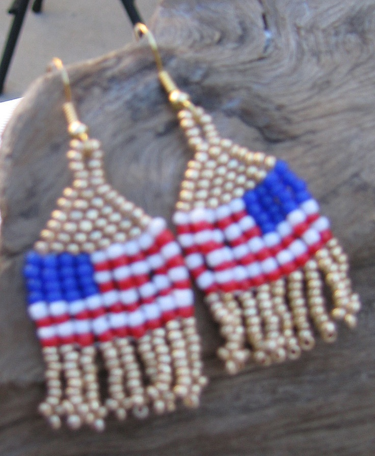 40 best 4th of july seed bead patterns images on pinterest for Patriotic beaded jewelry patterns