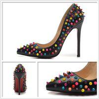 nieuwe vrouw hoge hakken schoenen 2015 kleur klinknagels hakken pompen 15 kleur groot formaat 41 42 43 helder echt leer gratis verzending