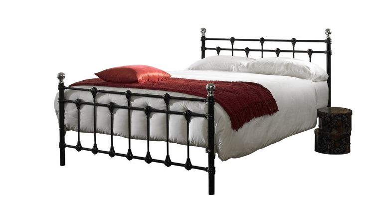 4ft6 Alana Black Bed Frame - £199.95 - Steel framed construction with a sprung slatted base. The sprung slats are good quality and provide a nice sprung feel to the mattress you choose to add to this bed. The finials on the head and footend are a chrome finish. Easy self assembly with an allen key which is included.