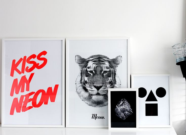 WEEKDAY CARNIVALPrints Posters, Neon White, Meow Prints, Theminimalistcomau Blue, Design Tigers, Theminimalist Com Au Blue, White Frames, Blue Neon, Rk Design