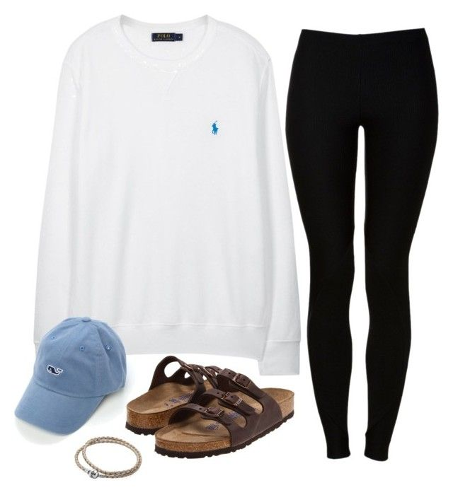 """Today's Lazy OOTD"" by robramey17 ❤ liked on Polyvore featuring Polo Ralph Lauren, Red Label, Birkenstock, Pandora and Vineyard Vines"