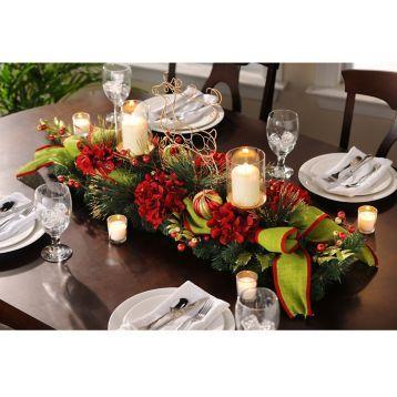 Complete your elegant dining decor with the Red & Green Reindeer Centerpiece. #kirklands #holidaydecor #KirklandsHoliday
