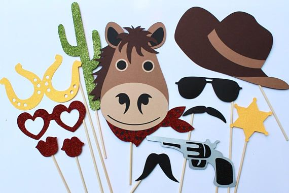 Western Photo Booth Props  Includes 12 Cowboy Themed Photo