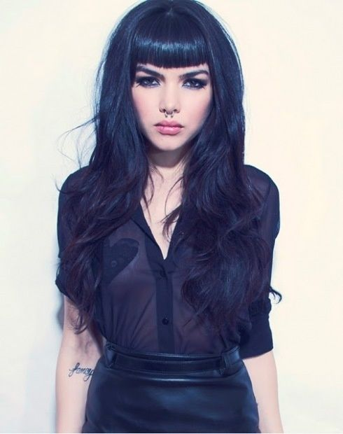 alternative, bangs, beautful, black, black hair