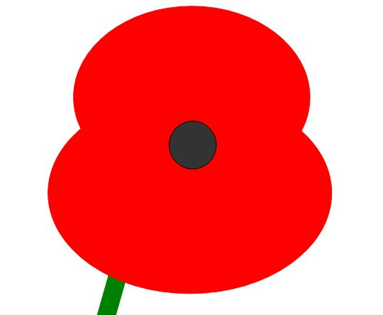 A simple Poppy and optional stalk made from autoshapes in Word. Easily editable and resizable.