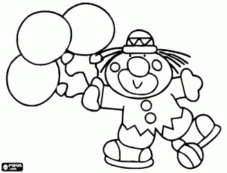 clown with three balloons in hand coloring page - Clown Balloons Coloring Page