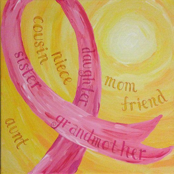 Pink Ribbon Breast Cancer Art Original Painting by artbytiffanyjay