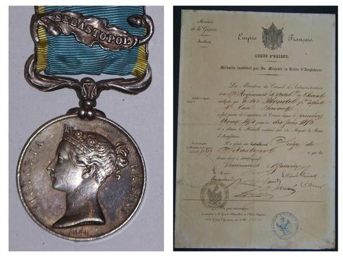 Britain British Medal 1854 1856 Crimea Sebastopol Decoration Military w Diplome