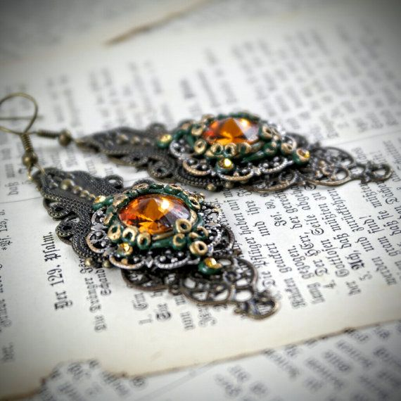 long topaz color earrings polymer clay by Fantazzihandmade on Etsy