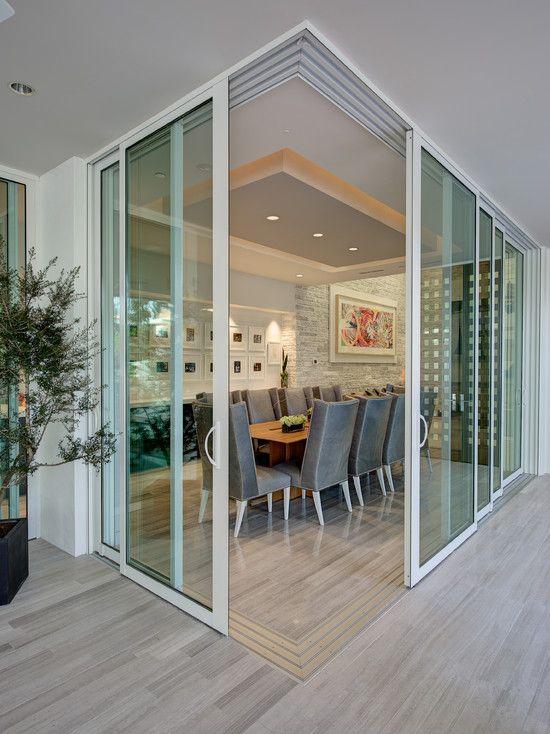Amazing corner stacking doors new living room ideas for Stacking doors