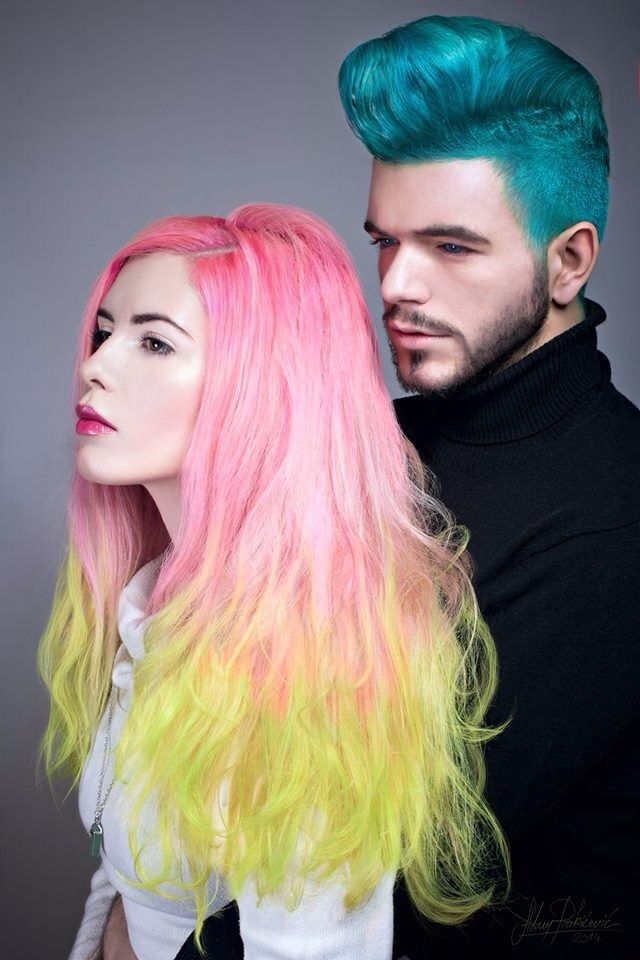 Teal blue hair in Mohawk   Pink and neon ombre hair