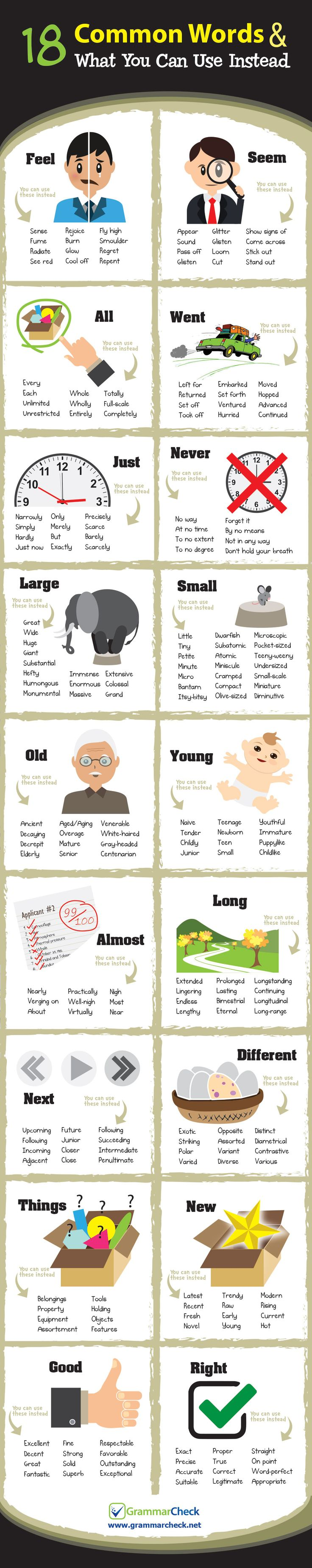 18 common Words & What You Can Use Instead (Infographic)                                                                                                                                                                                 More