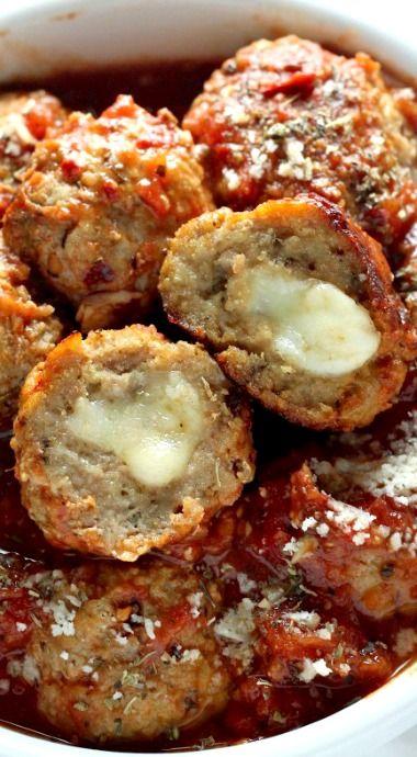 Mozzarella Stuffed Turkey Meatballs with Homemade Marinara