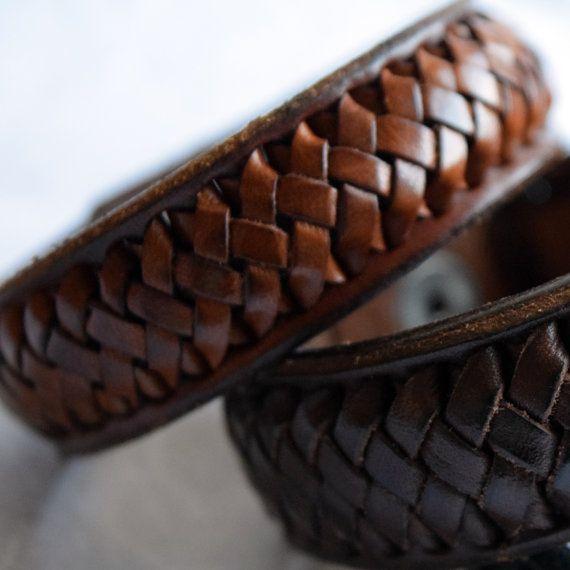 Geflochtenes Lederarmband. Herren Armband Damen Armband.