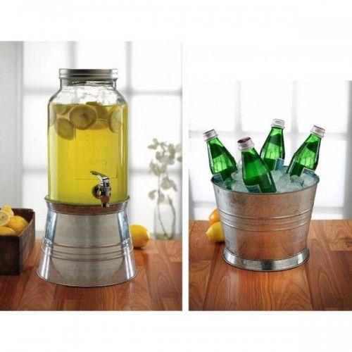 Distributeur boisson vintage en verre pour mariage ou anniversaire
