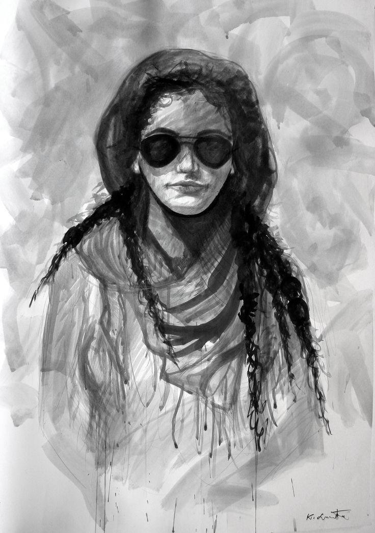"""Karolina Lasota """"Portret dziewczyny"""" ink, 2013 on Behance"""