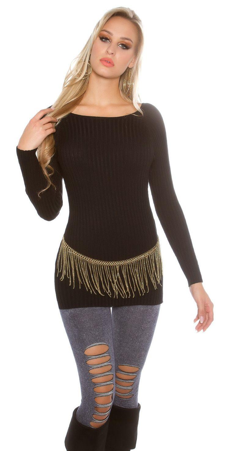 Trendy hoog laag geribbelde trui van het merk Koucla. € 26,95