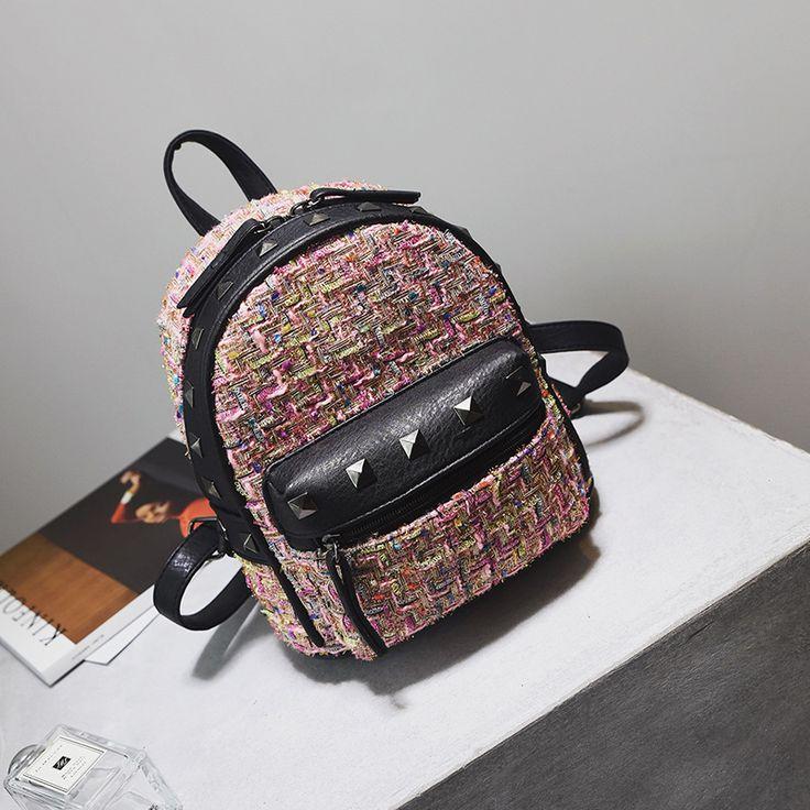 New Mini Cute Retro Rivet Shoulder Bags Fashion Wool Weave Small Travel Backpacks Casual Fresh Pachwork Backpacks BP047 #Affiliate