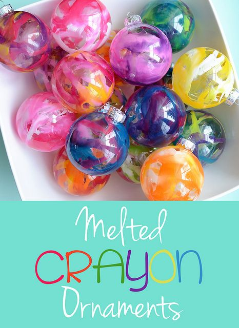 MELTED CRAYON ORNAMENTS~ They're easy to make, and they're beautiful. All the crayon drippings are INSIDE the ornament too, so there is ZERO mess!