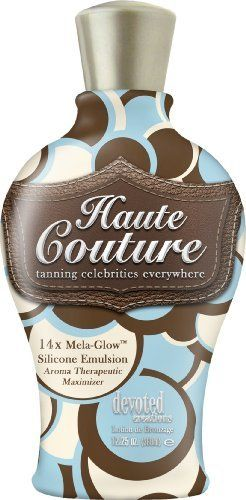 Haute Couture 14x Mega Glow Indoor Tanning Bed Lotion Bronzer by Devoted Creations. $26.65. Glow Silicone Emulsion. Bronzer/Silicone Features aroma therapy with it's oils and extracts to sooth the mind, body and soul. This 14x silicone emulsion bronzing lotion provides a soft and silky smooth feel to your skin that lasts the whole day.