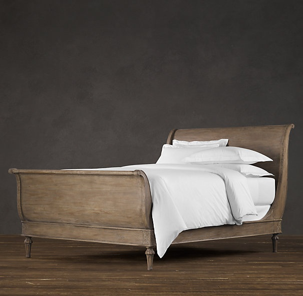 Painted Sleigh Bed - Painted distressed Gray - restoration hardware style. Imagining this with black heavy cast iron handles.