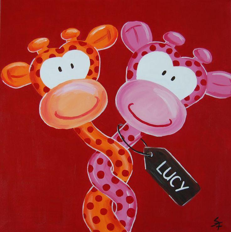 Vrolijk kinderschilderij 2 verliefde giraffen met naam. Formaat van het schilderij: H: 50 cm x B: 50 cm X D: 4 cm  Doek: Katoen Verf: Acryl Gemaakt door: Stephanie Fiseler 1 exemplaar met de hand gemaakt