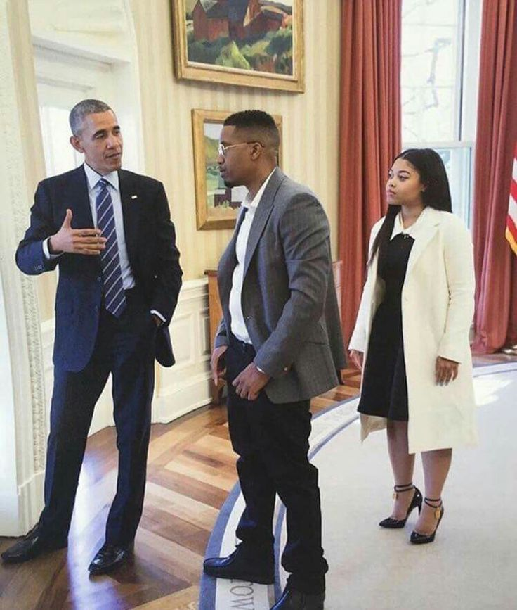 President Obama with Nas and Nas' daughter Destiny.
