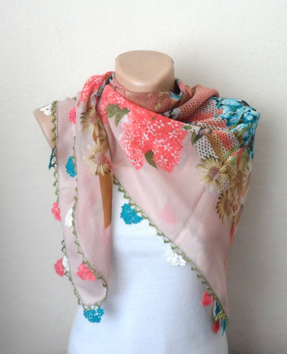 rose color scarf pink scarf floral print scarf by DamlaScarf