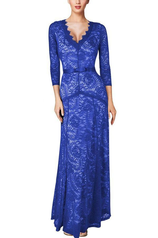 Chicloth Sexy Plunging Neck Three Quarter Sleeve Blue Lace Dress