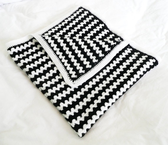 Crochet Baby Blanket Black And White Stripes Ready To Ship