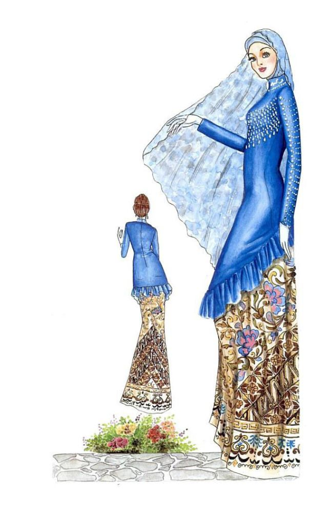 Sketch of Modern Blue Kebaya with Batik