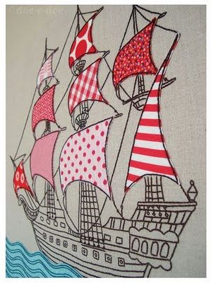 Embroidered and Appliqued Ship