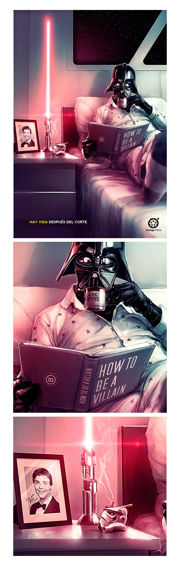 Vader's Day Off. Reads How to Be a Villain. Coffee in Bed. https://www.behance.net/gallery/22070807/Garage-Films-illustration?utm_medium=email