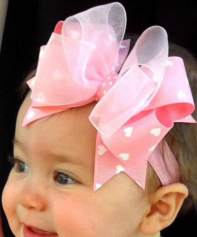 Pink Bowtique, PinkBowtique.com - - Valentines Day Baby Headbands - Pink & White Chic Baby Headband
