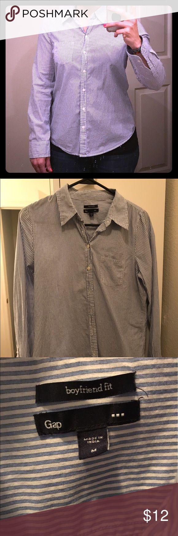 Women's Gap button down shirt GAP Women's Medium. Boyfriend fit. Blue and white striped button down shirt. GAP Tops Button Down Shirts