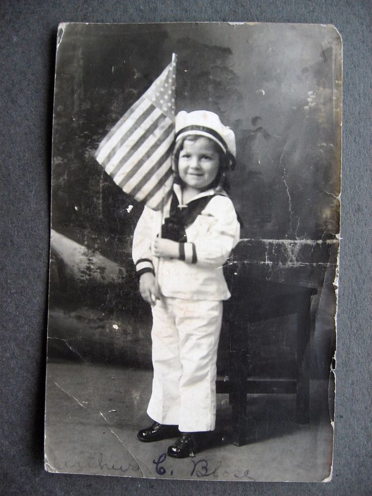RP Cute Child in Sailor Suit & US Flag Patriotic WWI era 1910s Postcard