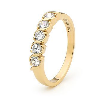 Cubic Zirconia Gold Eternity Ring - BEE-22004-CZ